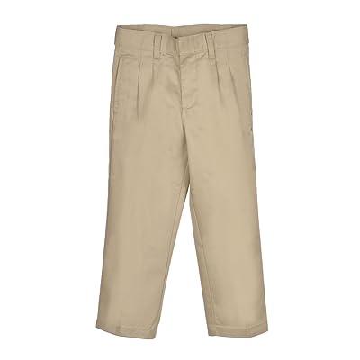 French Toast Big Boys' Pleated Wrinkle No More Double Knee Pants - khaki, 8