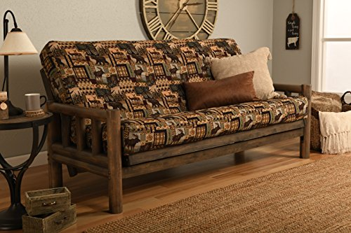 Log Style Futon - Jerry Sales Up North Futon Lodge Frame and Mattress Full Size Sofa Bed (Wildlife Rustic)