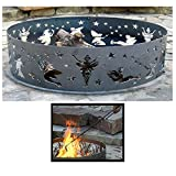 PD Metals Steel Campfire Fire Ring Fairy Design - Unpainted - with Fire Poker - Extra Large 60 d x 12 h Plus Free eGuide