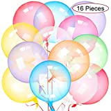 16 Pieces 18 Inch Colorful Bobo Balloons Clear Bobo Balloons Transparent Bubble Plastic Balloon for Birthday Wedding Anniversary Indoor Outdoor Events
