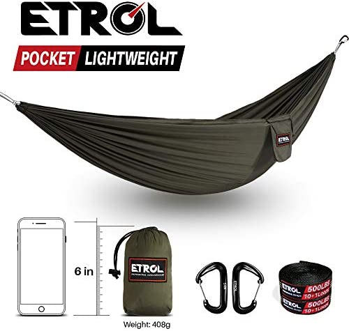 ETROL Outfitters Ultralight Camping Hammock with Tree Straps – Feather Light Lightweight Compact Durable Ripstop 20D Parachute Nylon Hammocks – Outdoor Travel Backpacking Hiking