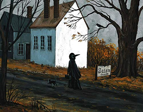 Salem Ma On Halloween (11X14 INCH PRINT OF ORIGINAL PAINTING RYTA HALLOWEEN WITCH BLACK CAT SALEM MA HUNT TRIAL LANDSCAPE SPOOKY SCARY FINE WALL)