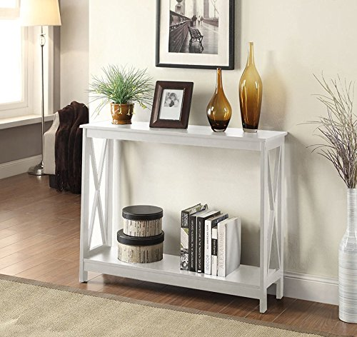Oxford Hardwood Construction Glossy White Finish Console Table (Bombay Living Room Ottoman)