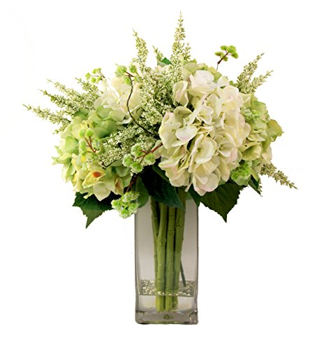 Basket Mixed Arrangement (Creative Displays Mixed Hydrangea Bouquet in Tall Squared Vase)