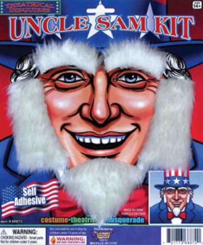 Uncle Sam Kit With Beard Sideburns And Eyebrows Costume Accessory