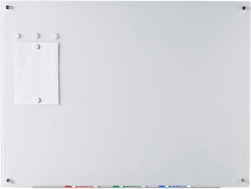 Ultra White Magnetic Glass Dry-Erase Board - 35 1/2'' x 47 1/4'' - Includes Board, 5 Magnets, and Aluminum Marker Tray