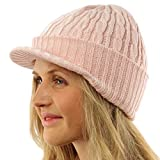 Winter 2ply Cable Knit Jeep Beanie Viisor Skull Newsboy Cabbie Ski Hat Cap Pink
