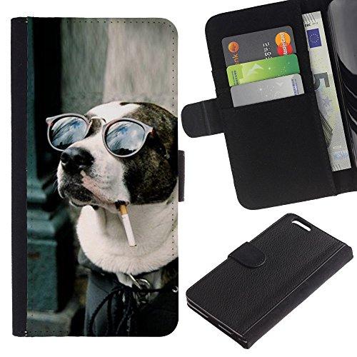 EuroCase - Apple Iphone 6 PLUS 5.5 - American pit bull terrier dog smoking - Cuero PU Delgado caso cubierta Shell Armor Funda Case Cover