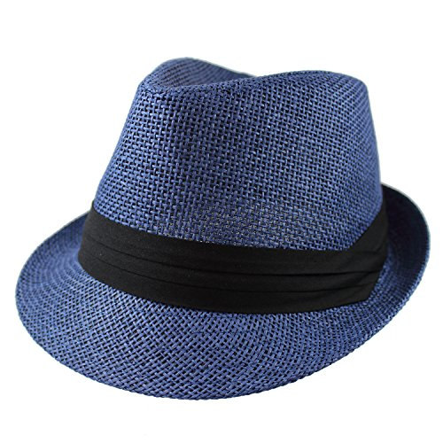 - Gelante Summer Fedora Panama Straw Hats with Black Band M215-Navy-S/M