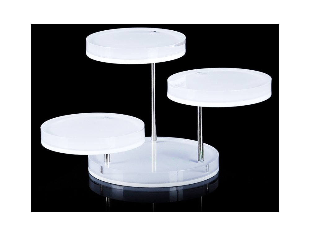 Svea Display Mini Acrylic Display Stand Tower Tray 3 Tier Turnable Multi Layer Fine Exhibition White