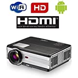 3500 Lumens 1080p Wireless Wifi Video Projector for iPhone Samsung Laptop Windows PC XBOX, HD Android Home Theater Outdoor Movie Gaming Proyector WXGA 1280x800 with HDMI USB VGA AV TV 3.5mm Audio Out