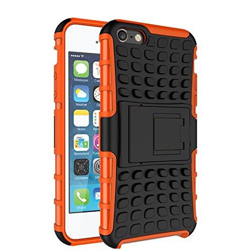 iPhone 5/ 5S/ SE Funda,COOLKE Duro resistente Choque Heavy Duty Case Hybrid Outdoor Cover case Bumper protección Funda Para Apple iPhone 5/ 5S/ SE - púrpura naranja