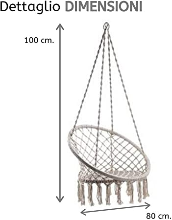 80x100h Poltrona Amaca per Interni ed Esterni PiuShopping Sedia Sospesa da Giardino Beige Design macram/è Gypsy Seduta Sospesa Economica Terrazzo