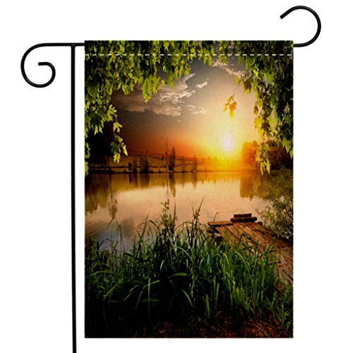 BEIVIVI Custom Double Sided Seasonal Garden Flag Fishing Lake in Evening Welcome House Flag for Patio Lawn Outdoor Home Decor