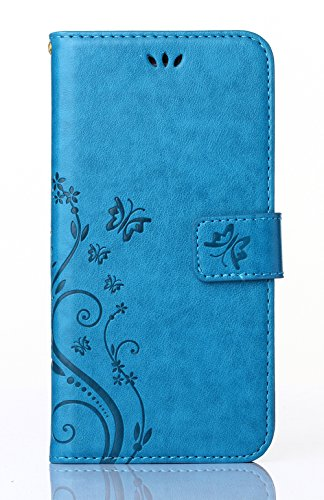 Microsoft Lumia 735 / 730 Case,Nokia Lumia 730 / 735 Case,C-Super Mall PU embossed butterfly & flower Leather Wallet Stand Flip Case for Microsoft Nokia Lumia 730 / 735 (blue)