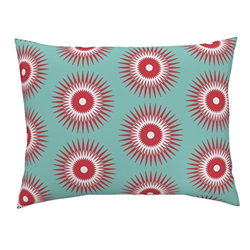 Roostery Holiday Christmas Ornament Starburst Modern Blue Red Standard Knife Edge Pillow Sham Holiday Starburst Red + Blue by Fable Design 100% Cotton - Blue Ornament Starburst