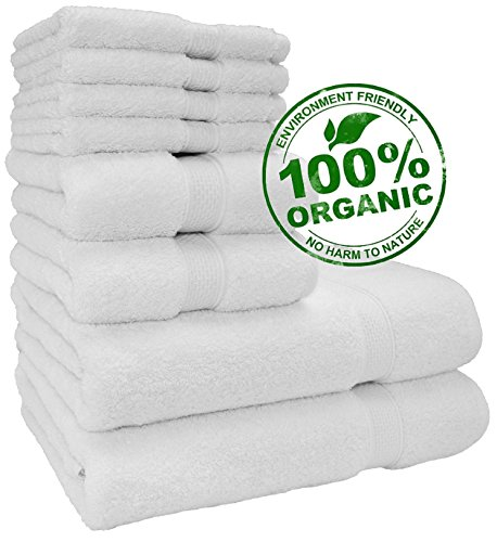 Aspendos Linen 100% Pure Organic Premium Quality Turkish Towels (New Collection & Design ) Very Soft, Plush and Highly Absorbent Quick dry (Towel Set - Set of 8, White