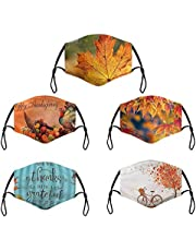 5PC Thanksgiving Face_Mask for Adults Washable Reusable Face Bandanas, Cotton Cute Pumpkin Turkey Print Dustproof Cloth Scarves with Adjustable Ear Loops,Scarf Protective Covering for Women Men