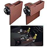 EKYAOMEI 2PCS PU Leather Side Pocket Organizer Car Seat Crevice Storage Box Space Gap Filler Drink Cup Holder With Coin Car Console Interior Accessories (Brown)