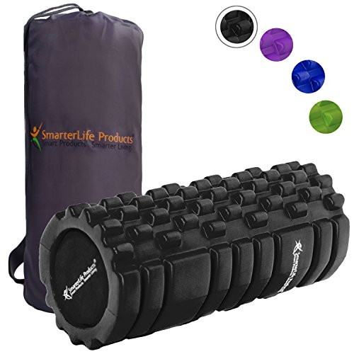 Foam Roller Massager for Trigger Point Therapy by SmarterLife - Massage Rollers for Sore Muscles, Pre and Post Workout, Exercise, Recovery, Yoga, Pilates, Cycling and Running (Black)