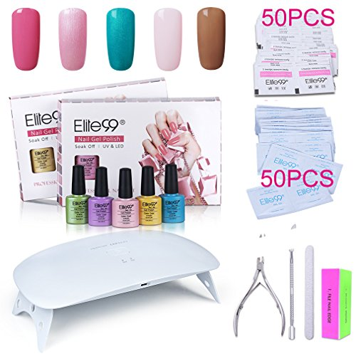 Elite99 Soak Off Gel Nail Polish Kit + SUNmini2 Plus 24W UV LED Nail Lamp + Gel Remover Wraps 50pcs + Cleanser Pads 50pcs + Nail Files and Buffer, Cuticle Pusher and Clipper Set C029 (Kits 56301)