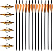VNAKER 20 Inch Carbon Crossbow Bolts 12 Pack and Hunting Broadheads 6 Pack, Carbon Crossbow Arrows for Hunting