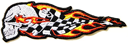 Winner Flame Checkered Flag Skull Ghost Devil Biker Rider Racing Punk Rock Heavy Metal Outlaw MC Jacket T-shirt Patch Iron on Embroidered Sign Badge Gift