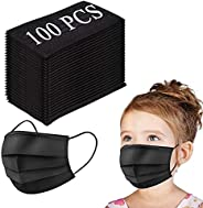 Kids Disposable Face Mask, 3-Layer Efficiency Protective, Breathable Safety Masks for Kids Daily Use,Black