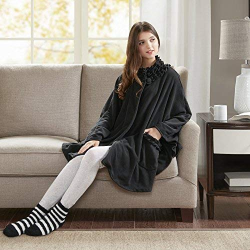 (Comfort Spaces - Stylish Soft Microfleece Poncho Angel Wrap with Matched Sock Set - Travel Blanket - (One Size fits Most)- Black)