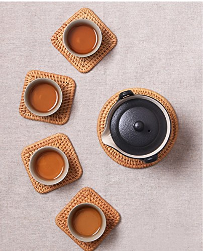 6pcs/lot Creative drink Coasters set for kungfu tea accessories round tableware Placemat Dish mat Rattan Weave cup mat pad
