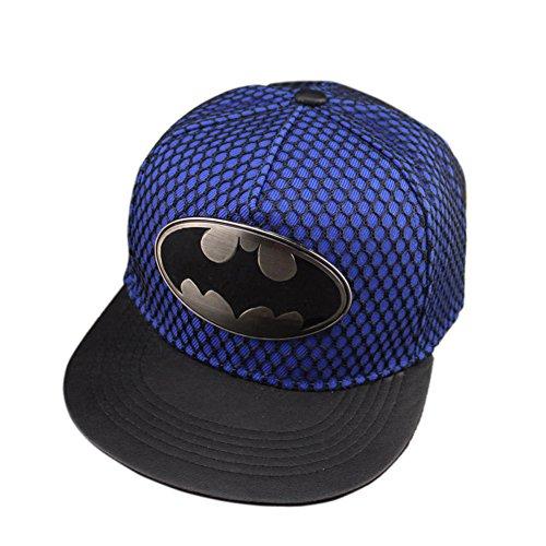 Superhappy Men's Hip-hop Baseball Cap with Black Mesh on the Cap Surface (Blue)