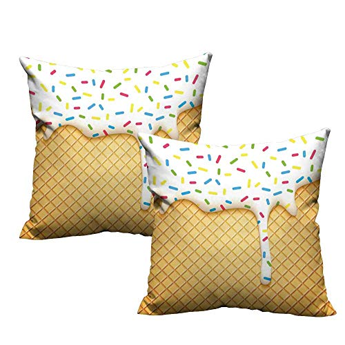 (WinfreyDecor Living Room Sofa Hug Pillowcase Food Cartoon Like Image of and Melting Ice Cream Cones Colored Sprinkles Artistic Print Soft and Durable W15 x L15 Multicolor)