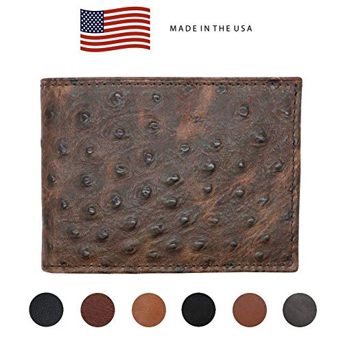 Brown Genuine Leather Wallet - Ostrich Print - RFID Blocking - American Factory Direct - Slim Bill Fold - Made in USA by Real Leather Creations ()