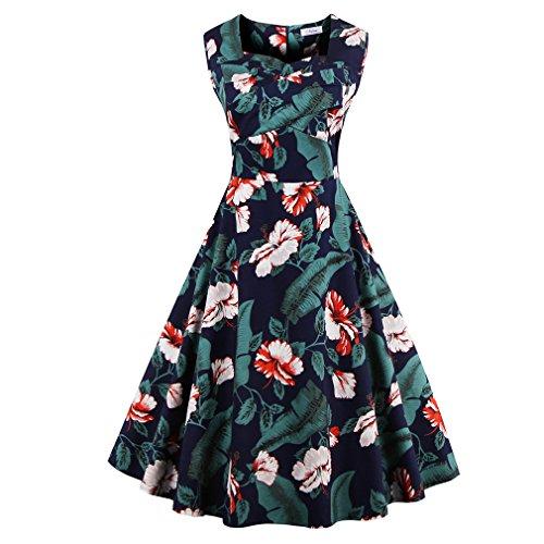 La mujer vestidos de verano vestidos estampados florales Vintage Retro estilo elegante casual Oficina vestidos vestido de fiesta Como se muestra en la figura 74