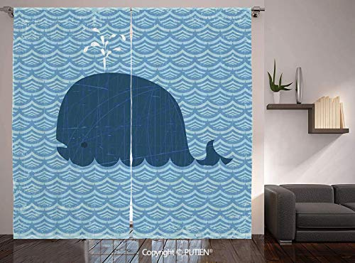 Urn Patterned - Thermal Insulated Blackout Window Curtain [ Whale Decor,Little Whale Water on Top with Art Deco Wavy Like Patterned Background for Kids Room,Blue ] for Living Room Bedroom Dorm Room Classroom Kitchen