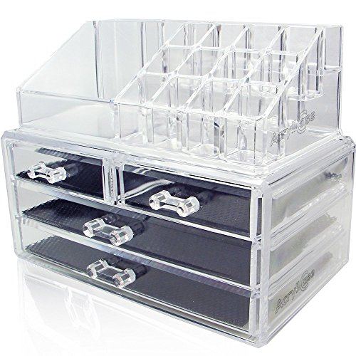 [Acrylic Makeup Jewelry Cosmetic Organizer - Great for Organizing your Lipstick Nail Polish Makeup Brushes Set Holder keep your Vanity Dresser Bathroom Organized with 4 set of Drawers AcryliCase] (Great Organizer)
