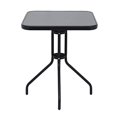 Outdoor Metal Table, Modern Game Room Round Pub Height Bar Table Tempered Glass Top Metal Frame,Patio Table 24In Tempered Glass Top Metal Frame Outdoor Garden Pool Side,Ship from USA Directly: Kitchen & Dining