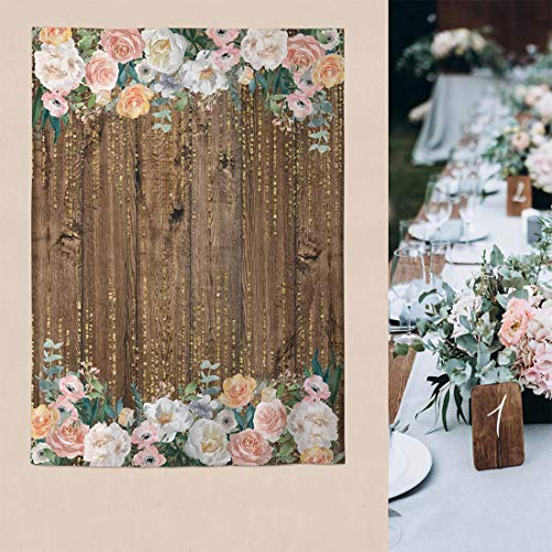 Allenjoy 5x7ft Boho Wedding Backdrop Rustic Floral Wooden Baby Bridal Shower Graduation Photography Brown Wood Floor Flower Wall Background Newborn Birthday Party Fabric Banner Photo Shoot Booth