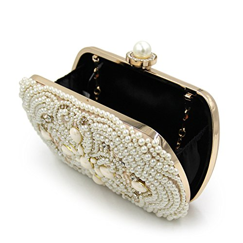 Bag Girl Evening Hand Upscale Banquet FFLLAS Embroidery Pearl Bag Beige Bag Diamond With Pearl YnqH4x
