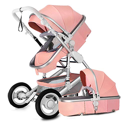 Pushchair pram for Babies 2-1 Baby Stroller Bed? Newborn Bassinet 2-in-1 Reversible Strollers Sleeping Carriage high Landscape Infant Trolley (Lotus Pink 2-1)