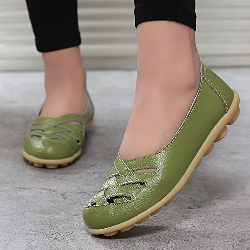 fereshte Womens Cutout Genuine Leather Loafers Casual Moccasin Driving Shoes Indoor Flat Slip-On Slippers Grass Green pcaZunCJs