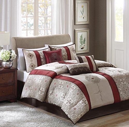 Madison Park Donovan Cal King Size Bed Comforter Set Bed In A Bag - Taupe, Burgundy, Jacquard Pattern – 7 Pieces Bedding Sets – Ultra Soft Microfiber Bedroom Comforters ()