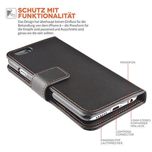 Yousave Accessories iPhone 6S / 6 Tasche Schwarz PU Kunst Leder Brieftasche Hülle
