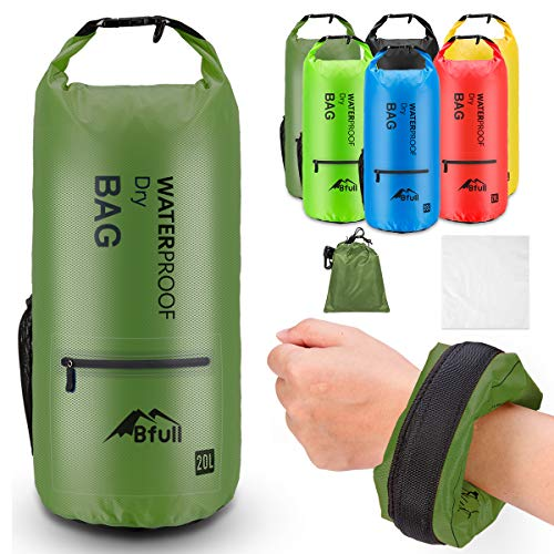 BFULL Waterproof Dry Bag 5L/10L/20L/30L/40L [Lightweight Compact] Roll Top Water Proof Backpack with 2 Exterior Zip Pocket for Kayaking, Boating, Camping, Floating, Rafting, Fishing (Army Green) ()