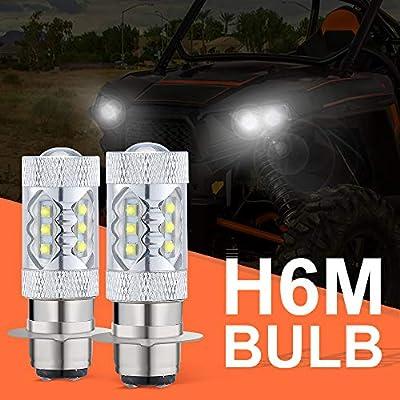H6M LED Headlight Bulbs 80W 12V-36V for Yamaha Banshee Raptor Rhino YFZ350 YFZ450 YFM250 YFM350 YFM450 YFM660 YFM700