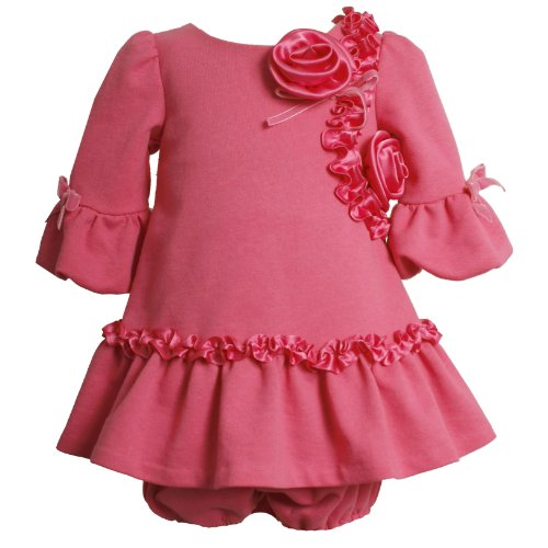 Bonnie Jean Baby/INFANT 12M-24M 2-Piece ROSE-PINK CHARMEUSE ROSETTE BUBBLE BELL SLEEVE DROP WAIST KNIT Special Occasion Flower Girl Party Dress