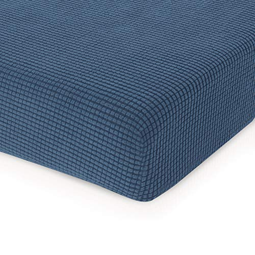 CHUN YI Jacquard Cushion Covers High Stretch Slipcover Furniture Protector for Sofa and Couch Seat (Loveseat Cushion, Denim Blue)