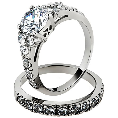 Marimor Jewelry 2.50 Ct Round Cut CZ Silver Stainless Steel Wedding Ring Set Womens Size 5-10