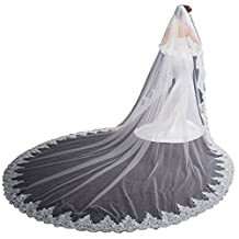 EllieHouse Women's 2 Tier Cathedral Lace Wedding Bridal Veil With Free Comb L01