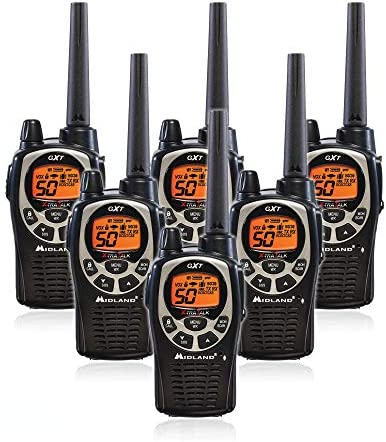 Midland GXT1000VP4 50 Channel GMRS Two-Way Radio – Up to 36 Mile Range Walkie Talkie – Black Silver Pack of 6